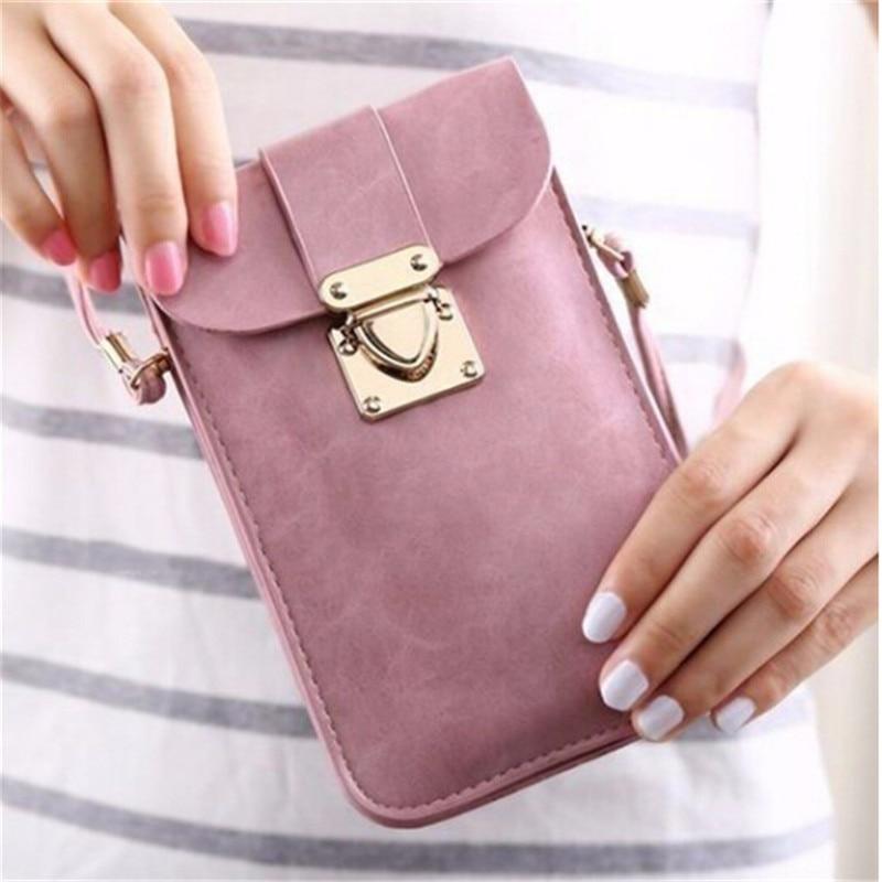 Women Leather Messenger Bag Mini Cell Cellphone Pouch Student Crossbody Case Clutch Purse Wallet Girl Small Shoulder Bag Handbag
