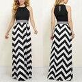 2016 hot sexy mujeres dress o cuello rayado negro y white dress vestido de tirantes sin mangas de la playa vestidos de verano largo maxi dress R2