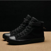 2018 Fashion New Men Light Breathable Canvas Casual All Black white Red High top Solid Color Sneakers Shoes flats HH 90