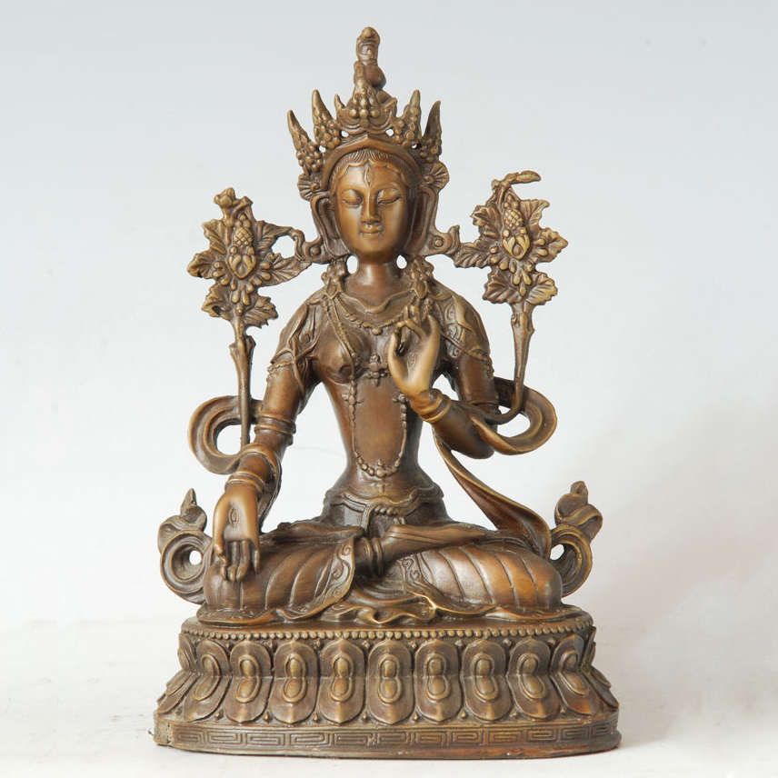 ATLIE Bronze White Tara Buddha Statue the Embodiment of Guan Yin Sculpture Tibetan Buddhism Buddha Figure for Decoration