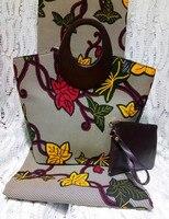 (3 шт./компл.) серый и красный 6 ярдов ткань с батиком в африканском стиле и сумка и кошелек африканская мода Текстиль Mar 8 2018