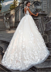 Image 4 - Stunning Jewel Ausschnitt A linie Brautkleider Mit 3D Spitze Appliques Brautkleider vestidos de novia