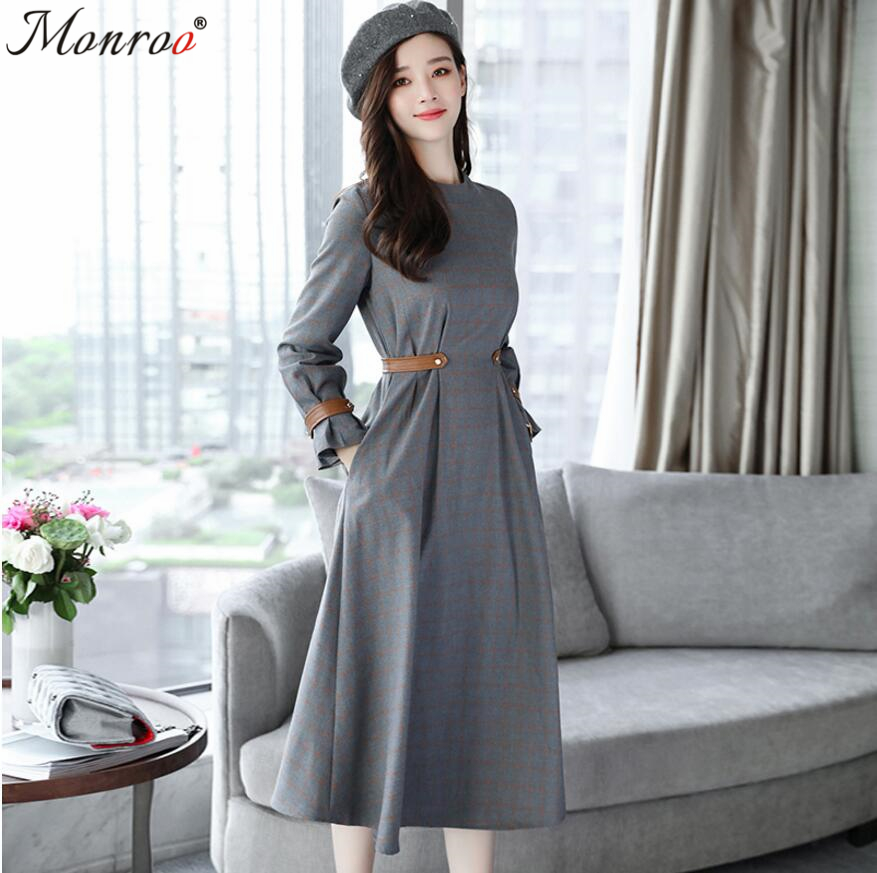 Women High Waist Long Sleeve Pleated Elegant Dress Ladies Autumn Brand New Autumn Grey Plaid OL