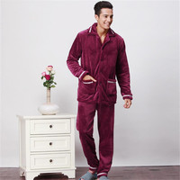 ROSICIL Winter Men S Pajamas Thickening Warm Mens Pyjama Sets Lounge Wear Comfortable Coral Fleece Male