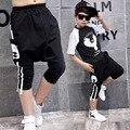 Pouco meninos grandes roupas de hip hop calças harém para crianças primavera verão 2017 impressão preto pouco adolescente boy harem pants roupas