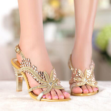 Fashion New Sandal Floral Crystal Rhinestones 8cm High Heels Prom Evening Party Shoes Dress For Women Lady Bridal Wedding Shoes