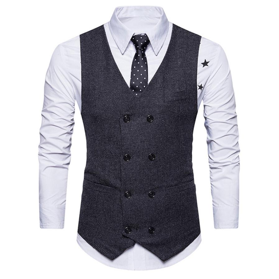 Muqgew Men Formal Tweed Check Double Breasted Man Vest Waistcoat Retro Slim Fit Suit Vest Fashion Chalecos Para Hombre # Dd