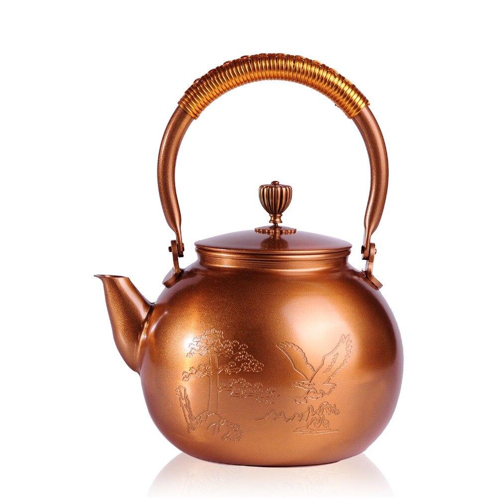 1.2L ручной работы медный чайник самовар керамические эмалированные из глины эмалированный чайник металлической посуды зеленый чай подарок ...