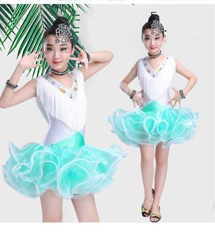 Costumes de danse latine robe de salle de bal pour enfants filles robes de concours de danse latine cha-cha Costume de danse robe de Performance