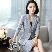 155ad6548f 2018 Moda Verão ternos Listrados mulheres ternos de saia definir elegante  Xadrez de Negócios formal escritório