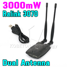 KEBETEME High Power Ralink 3070  BT-N9100 Beini USB Wifi Adapter Wireless Network Card 3000mW Dual Antenna for notebook