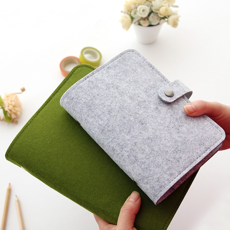 Felt Loose-leaf Notebook Cover A5/A6/A7spiral Notebook Personal Organizer Cute Ring Stationery Binder