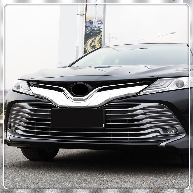 For Toyota Camry 2018 Car Front Center Grille Grill Cover Trim ABS Decorative Strips Car Styling 1PC/SET front grille led emblem logo light 4 colors abs decorative grill lamp for f ord r anger t7 2016 2017 car styling