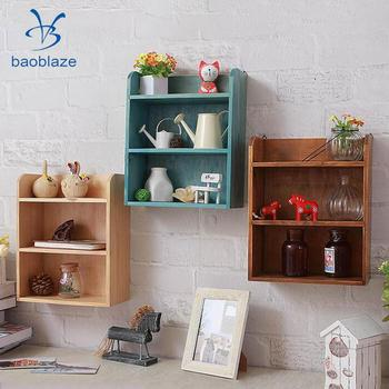 Retro Multi Layer Wooden Furniture Storage Box Cabinet Wall Storage Cabinet Display Box For Living Room Bedroom wall shelf for tea pots