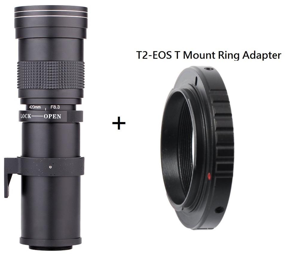 Prix pour Lightdow 420-800mm F/8.3-16 Super Téléobjectif Zoom Manuel Lentille + T2 Adaper Anneau pour Canon DSLR Photo EF EF-S Monture