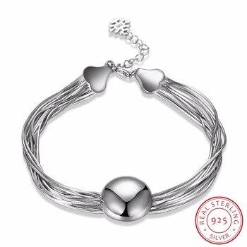 c4fdd463c27a LEKANI de Plata de Ley 925 multicapa Cadena de Cuentas grandes pulseras  para las mujeres hipoalergénico chica de plata-joyería de