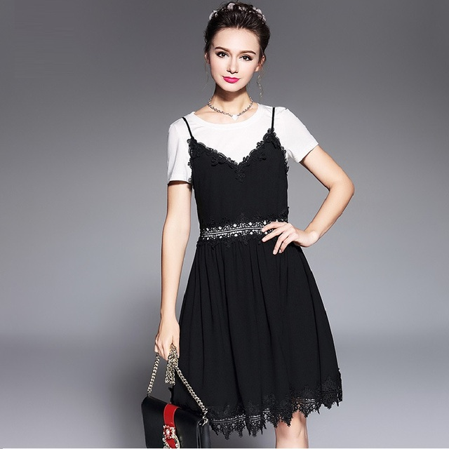 2017Summer Fashion Ladies Chiffon Dress twinset white t shirt+lace border  halter dress Elegant Casual Vestidos tunics XXXXXL5653 2446d89bcf77