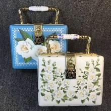 White Flower Fashion Box Form frauen Mini Einkaufstasche Druck PU Abendtasche Blumenmuster Handtasche Damen Umhängetasche z820