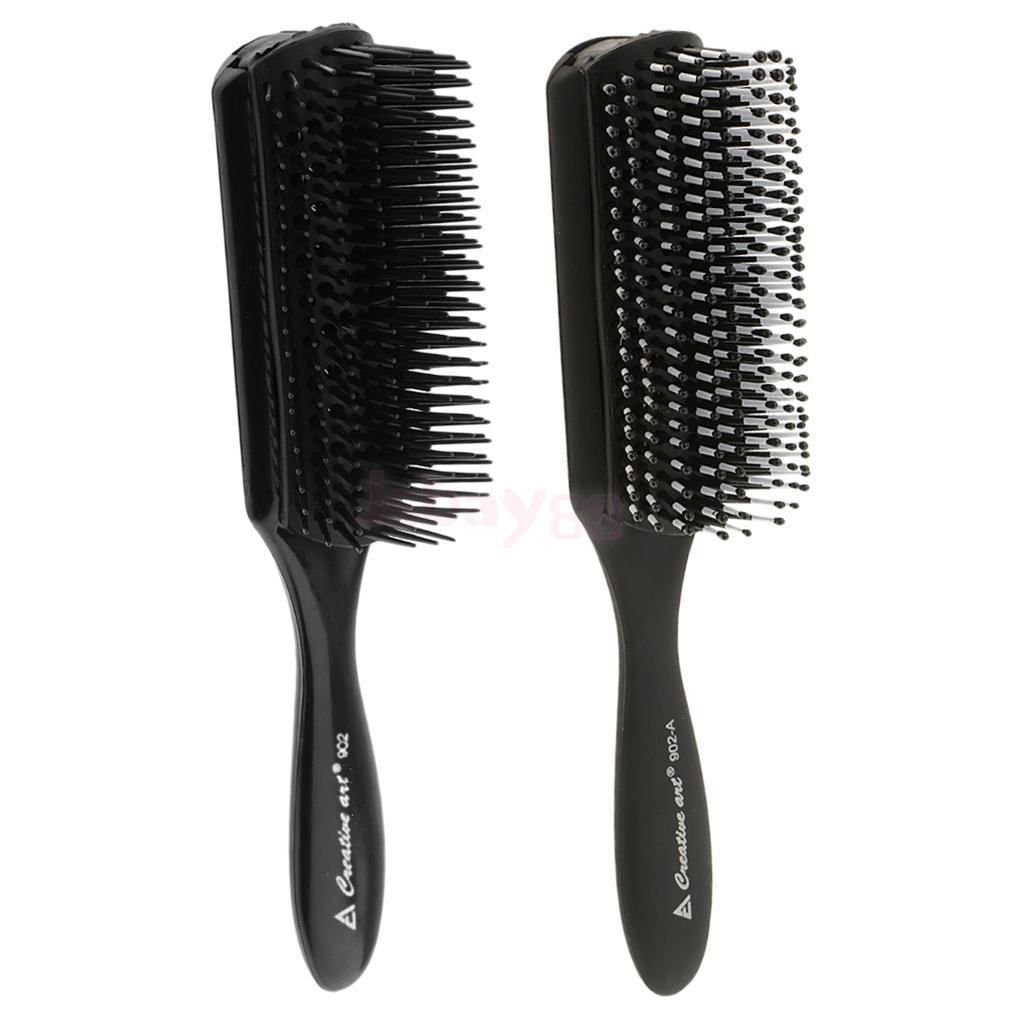 2 Pieces Black Salon Barber Anti-Static Hairdressing Hair Styling Comb Brush