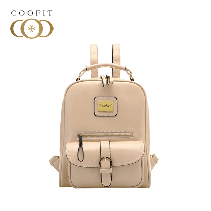 coofit Vintage British Style Retro PU Leather Backapck Casual Rucksack Daypack For Women With Cell Phone Mochila Feminina New retro style ruffles lace spliced pu leather black skirt for women