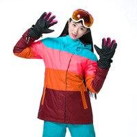 Новый лыжи куртка женщин открытый зимний сноуборд лыжная одежда горные лыжи одежда согреться красочные лоскутная туризм