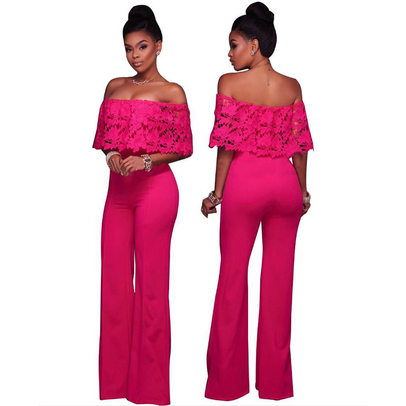 Temperament commute loose solid color lace word collar straight wide pants side zipper jumpsuit free shipping in Women 39 s Sets from Women 39 s Clothing