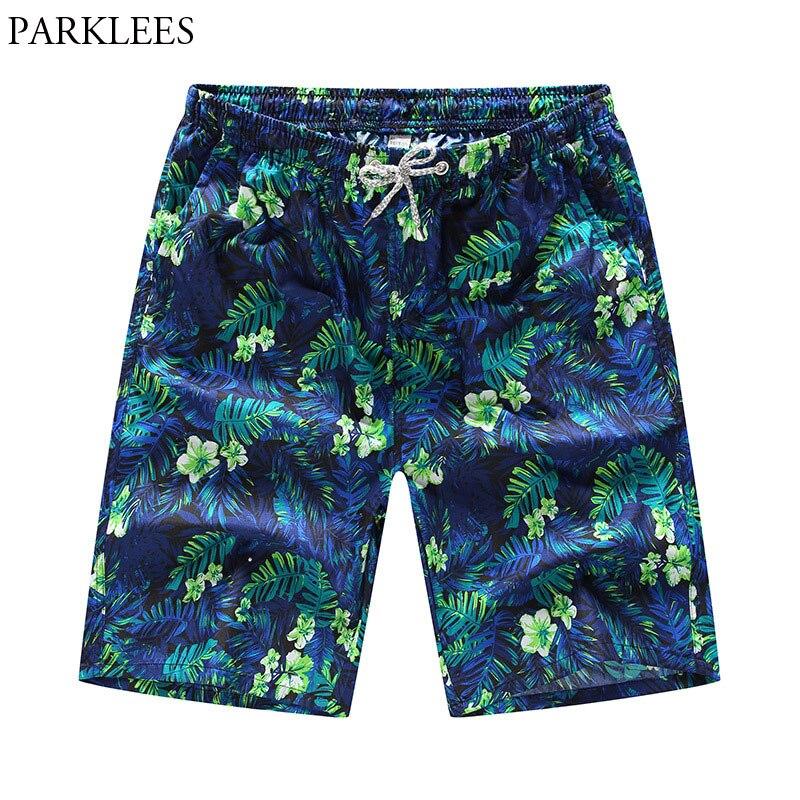 Men's 3D Leaves Printed Beach Board Shorts Trunks 2018 Summer New Quick Dry Boradshorts Men Casual Pocket Hawaiian Beachwear 4XL