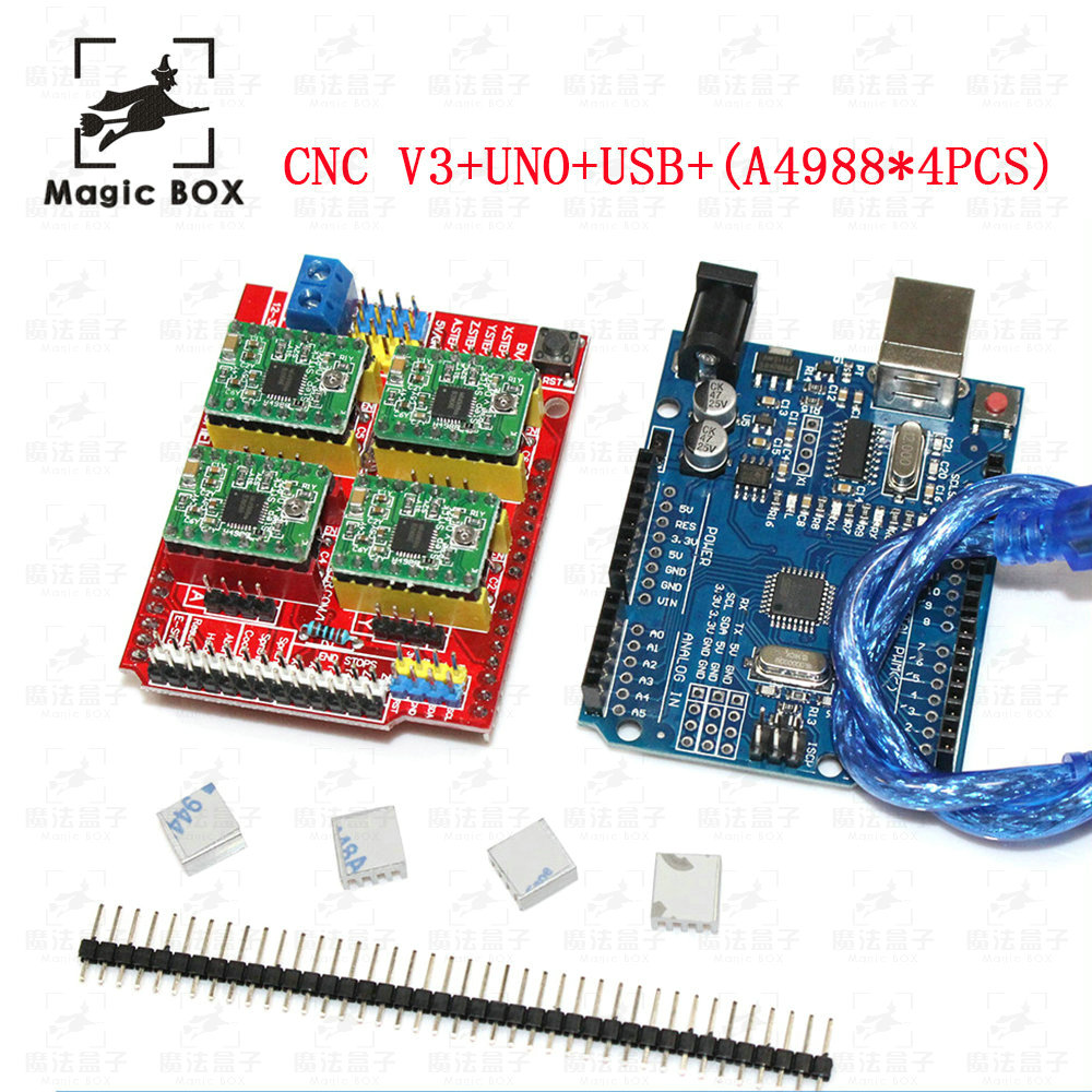 cnc shield v3 engraving machine 3D Printer+ 4pcs A4988 driver expansion board + UNO R3 with USB cable 4x a4988 stepper motor driver with heat sink cnc shield expansion board for arduino uno r3 v3 engraver 3d printer
