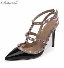 2017 летние новые брендовые дизайнерские Обувь на высоком каблуке женские с острым носком на тонком каблуке Туфли-лодочки с заклепками на шпильке женские модельные вечерние туфли-лодочки