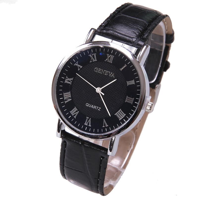 TOP Elegant Fashion Watch Men Small Silver Roman Numbers Geneva Style Quartz Boy Business wristwatch Black Face Student watch