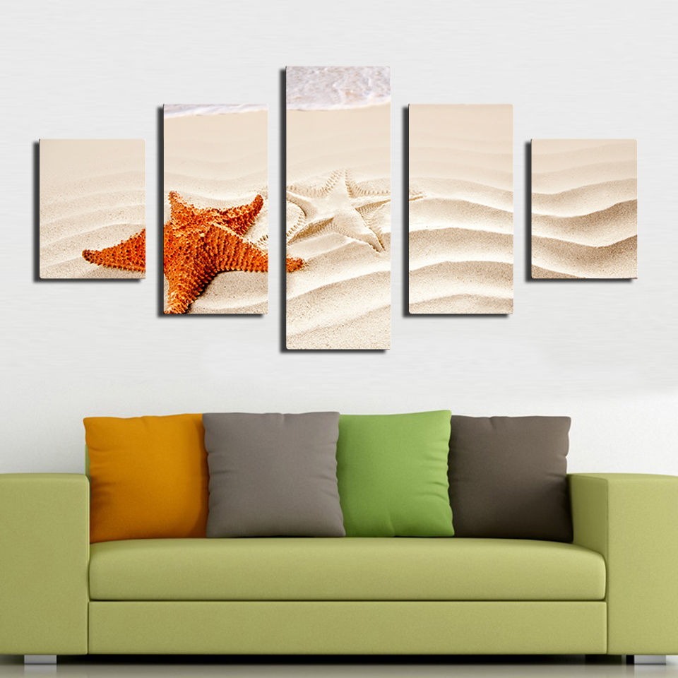 5 PCS beautiful sea ocean starfish shore best beaches in the world Modern Home Wall Decor Print on Canvas Painting Unframed image
