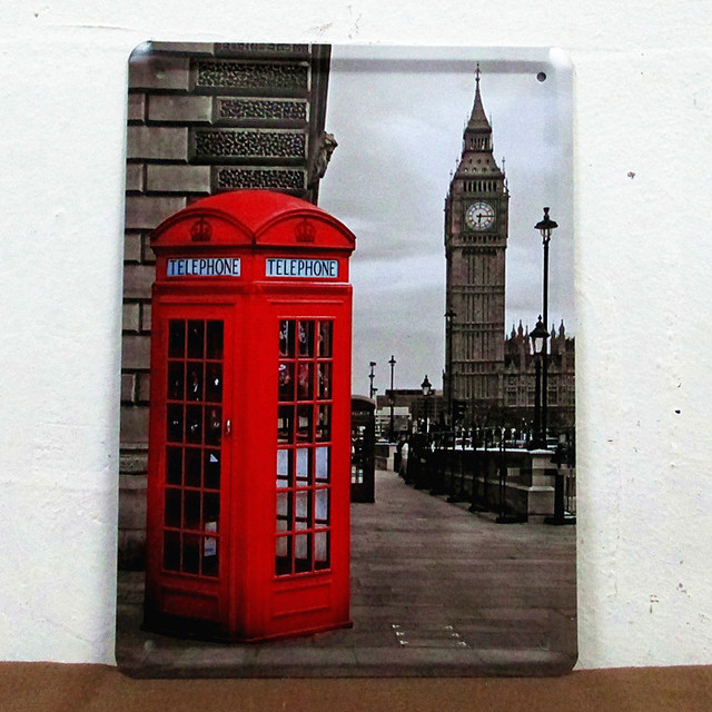 Vintage Painting Bar House Cafe Retro Plates London Telephone Booth Wall Art Decor Metal