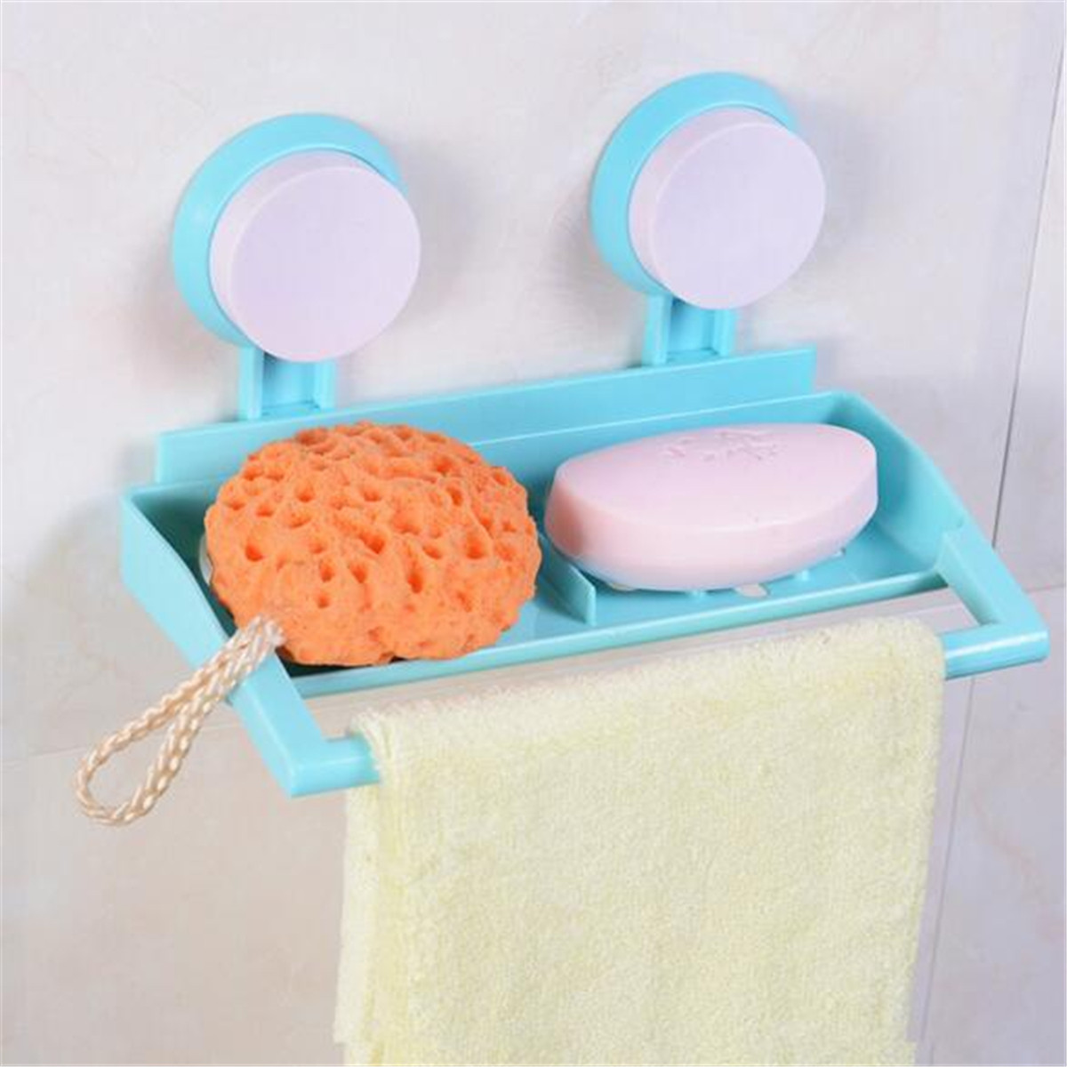 Plastic Wall Mounted Bathroom Suction Cup Shower Soap Towel Storage ...