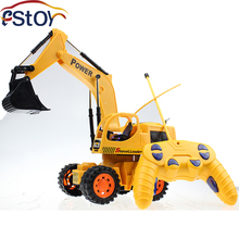 Engineering wireless Remote Control 5CH 4Wheel RC Excavator RC Digger Dig Function with Light Shovelloader Model