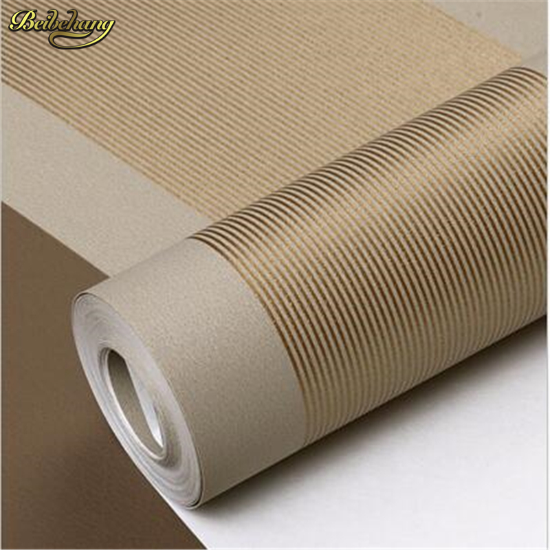 beibehang 3D Wall Paper Stripe Wallpaper Flocking Bedroom or Living Room or TV Background Wall Beige Grey .papel de parede Roll beibehang modern simple wide stripe wallpaper for living room bedroom tv background home decor wall paper papel de parede 3d