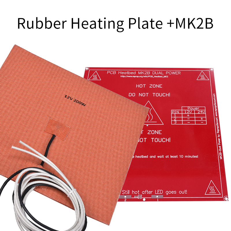 3D printer accessories Silicone rubber heating plate 200*200 12V 200W + MK2B heatbed 214*214*1.6 MK3 for 3D Printer stenders 3d 200