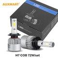 Auxmart S2 H7 LED COB 72 W CONDUZIU a Lâmpada Do Farol Do Carro 6500 K 8000LM único Feixe de Kit de Conversão de faróis de nevoeiro Frontlamp 2WD 4WD SUV 12 v 24 v