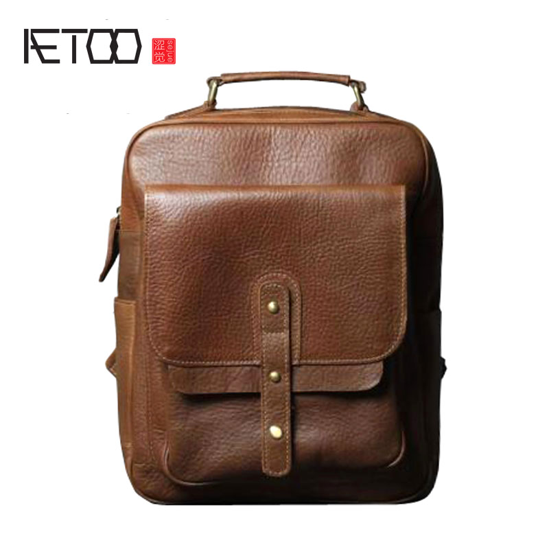 AETOO Leather shoulder bag imported head layer leather backpack men and women handmade original classic retro school wind