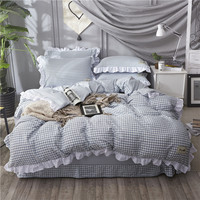 4 Piece Set Lace yarn dyed cotton Plaid Bedding Sets Soft Bedclothes Twin Queen Duvet cover Bed sheet set pillow