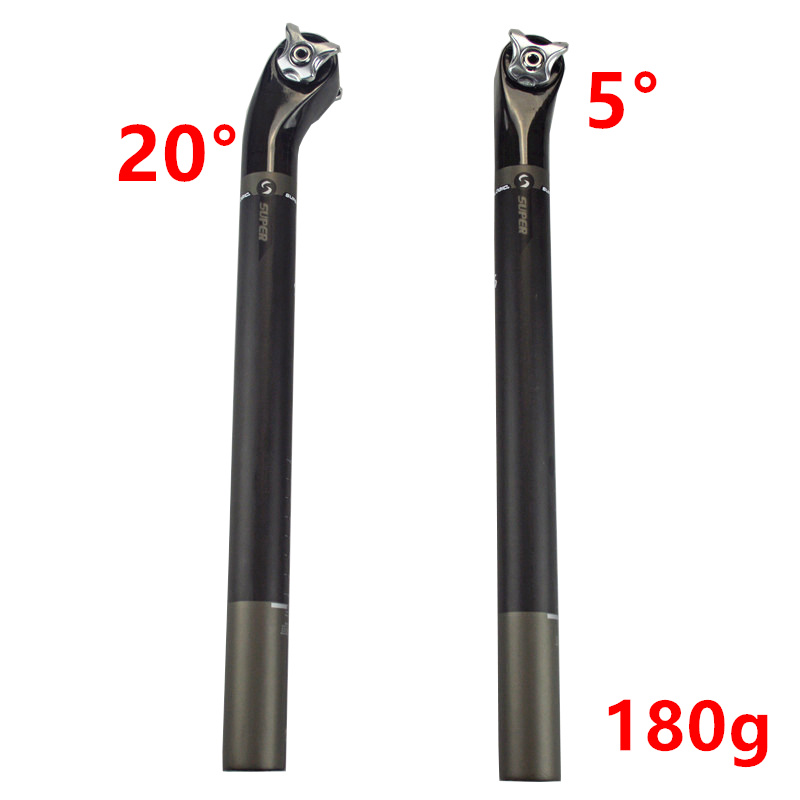 Bicycle Full Carbon Fiber Seat Tube Bike Seat Post Cycling Carbon Seatpost 20 & 5 Degree 27.2/30.8/31.6*400mm
