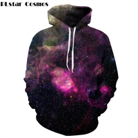 PLstar Cosmos 2017 Autumn New Fashion Thin Pocket Hoodies Colorful Galaxy Space 3D Print Men Women