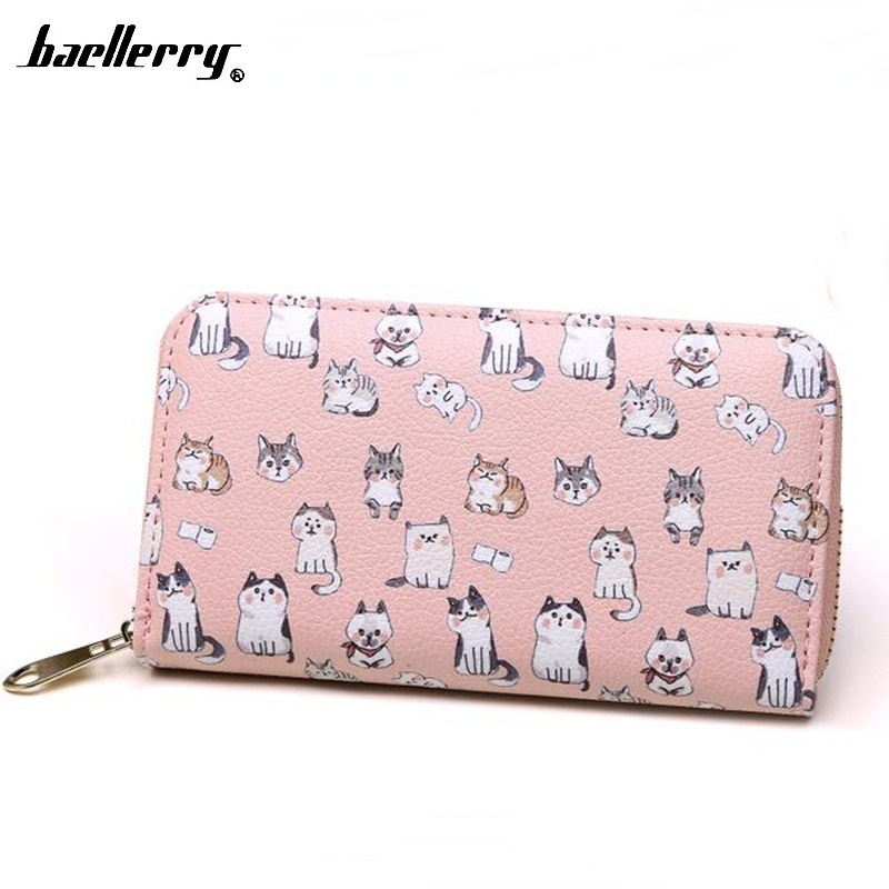 Baellerry Women Cute Cat Wallet Long Zipper Clutch Phone Purse PU Female Card Holder Coin Purse Girls Wallet Dollar Portfolio women long wallet cat zipper