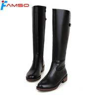 Plus Size34 43 2015 New Sexy Women Boots Black Red Autumn Knee High Boots Waterproof Winter