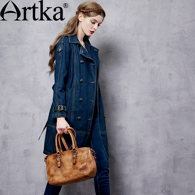 ARTKA Women's Autumn New Solid Color Cotton Denim   Trench   Vintage Turn-down Collar Long Sleeve   Trench   With Sashes FN10167Q