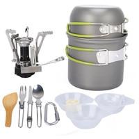 1 2 Person Outdoor Camping Hiking tableware Aluminium Alloy Cookware Cooking Picnic Traveling Bowl Pot Pan Set+Gas Burner