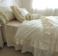 Светло бежевое высококачественное хлопковое саржевое кружевное корейское постельное белье для принцессы