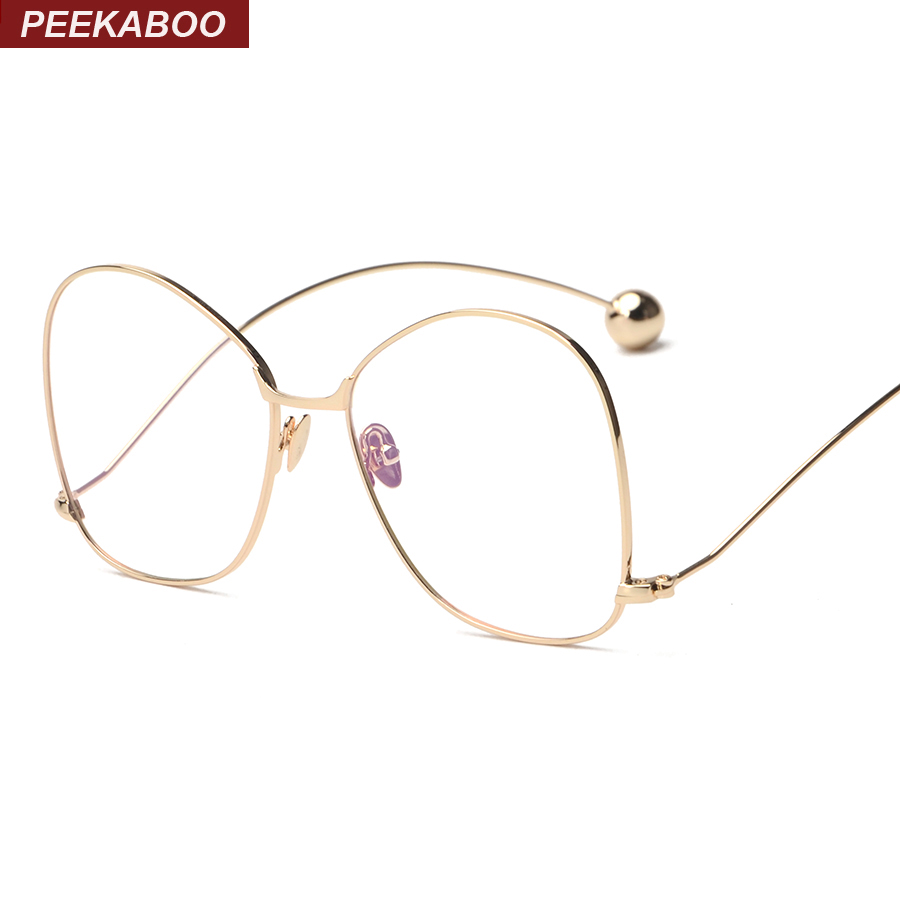 Peekaboo new rose gold brand designer eyeglasses frame vintage eye glasses frames for women men big top quality thin metal