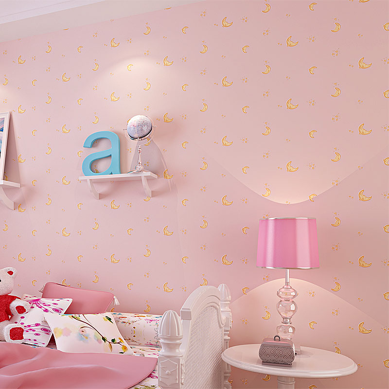 Children's Room Non-woven Wallpaper For Kids Room Moon And The Stars Blue Boys Girls Bedroom Wall Decoration Wallpaper Roll 3D cheng shuo wallpaper british children room non woven wallpaper the bedroom wallpaper small pure and fresh and stars wallpaper