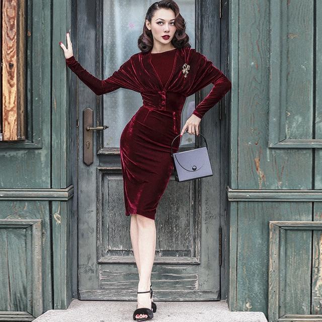 1acdaee7161 40- le palais vintage 50s velvet wiggle pencil dress in burgundy elegant  vestidos with cape women plus size pinup dresses