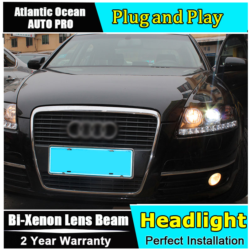new head lamp Car Styling for Audi A6 C5 Headlights 2005-2012 A6 LED Headlight DRL Lens Double Beam HID KIT Xenon bi xenon lens new m803 2 5 car motorcycle universal headlights hid bi xenon projector kit and m803 hid projector lens for free shipping